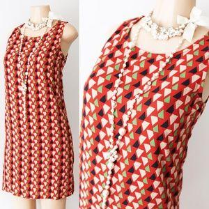 Rust Orange 70s Geometric Print Retro Sheath Dress